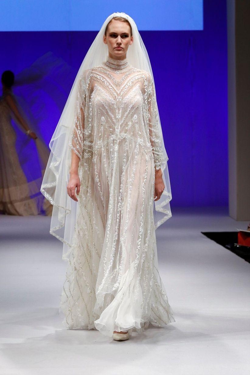 Excepcional Vestido De Novia De Encaje Casablanca Ideas Ornamento ...