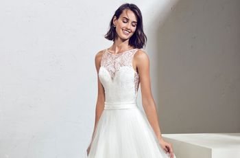 60 vestidos de novia con escote ilusión combinados con diferentes cortes