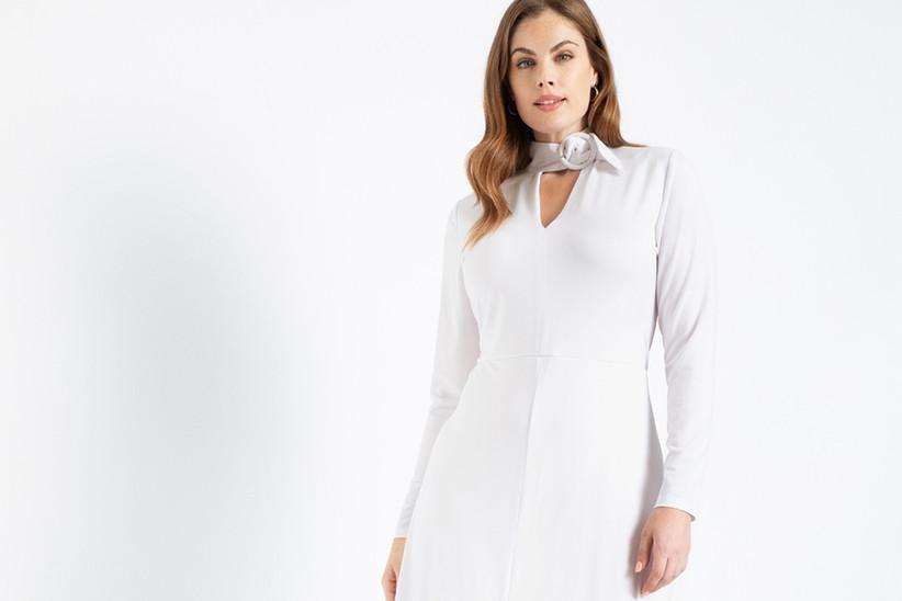 vestido blanco de fiesta manga larga