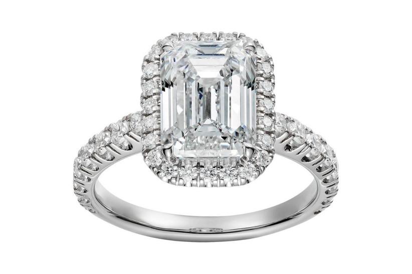 anillo de compromiso para novia corte esmeralda de diamantes