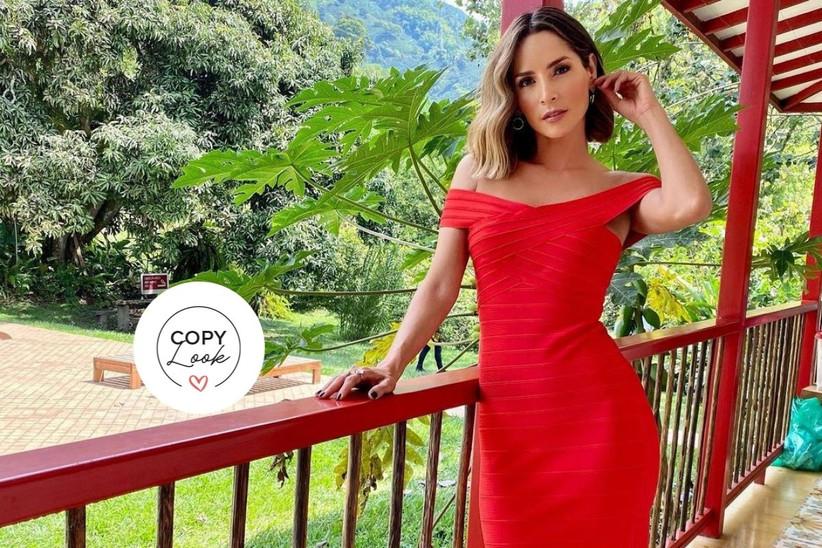 vestido para fiesta rojo largo escote barco