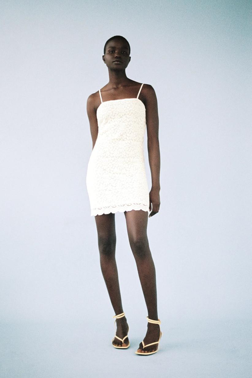 vestido blanco corto de fiesta de encaje
