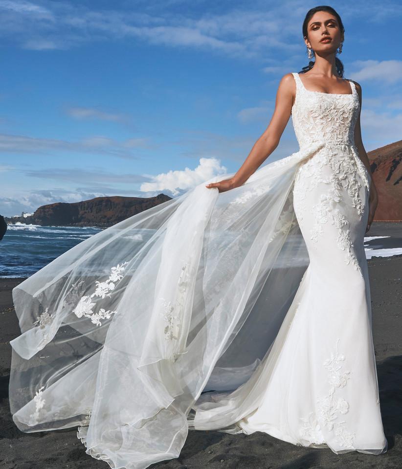 vestido de novia escote redondo de corte sirena