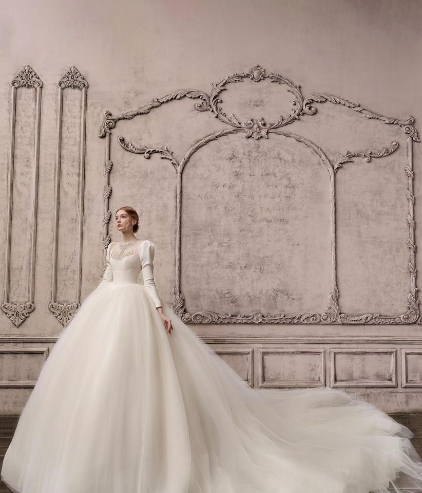 vestido de novia de tul y manga larga