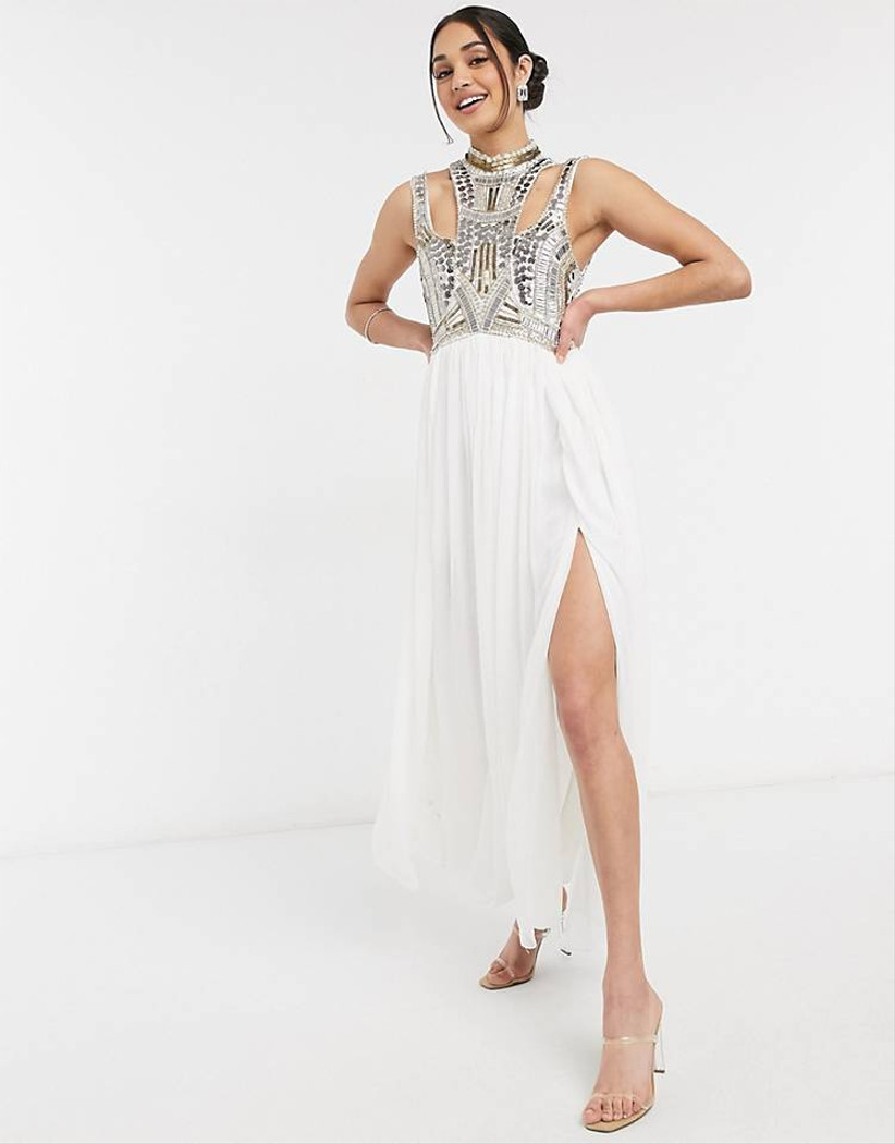 vestido blanco largo de fiesta elegante