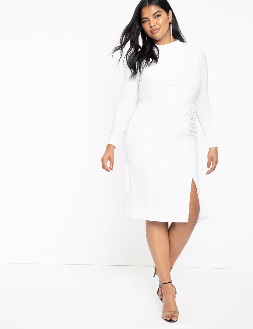 vestido blanco de fiesta manga larga y abertura en la falda talla grande