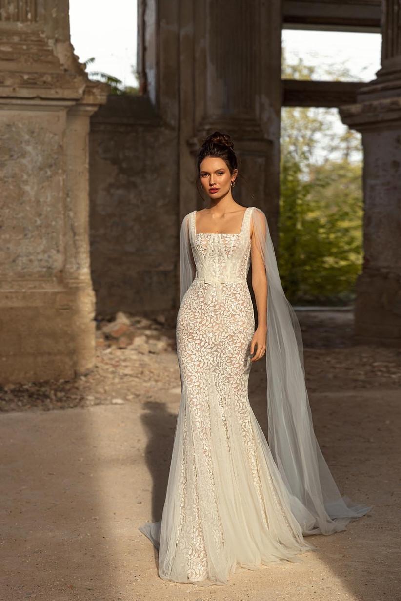 vestido de novia corte sirena con mangas largas