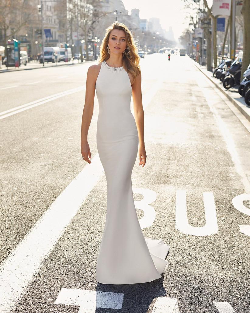 vestido blanco de fiesta sencillo