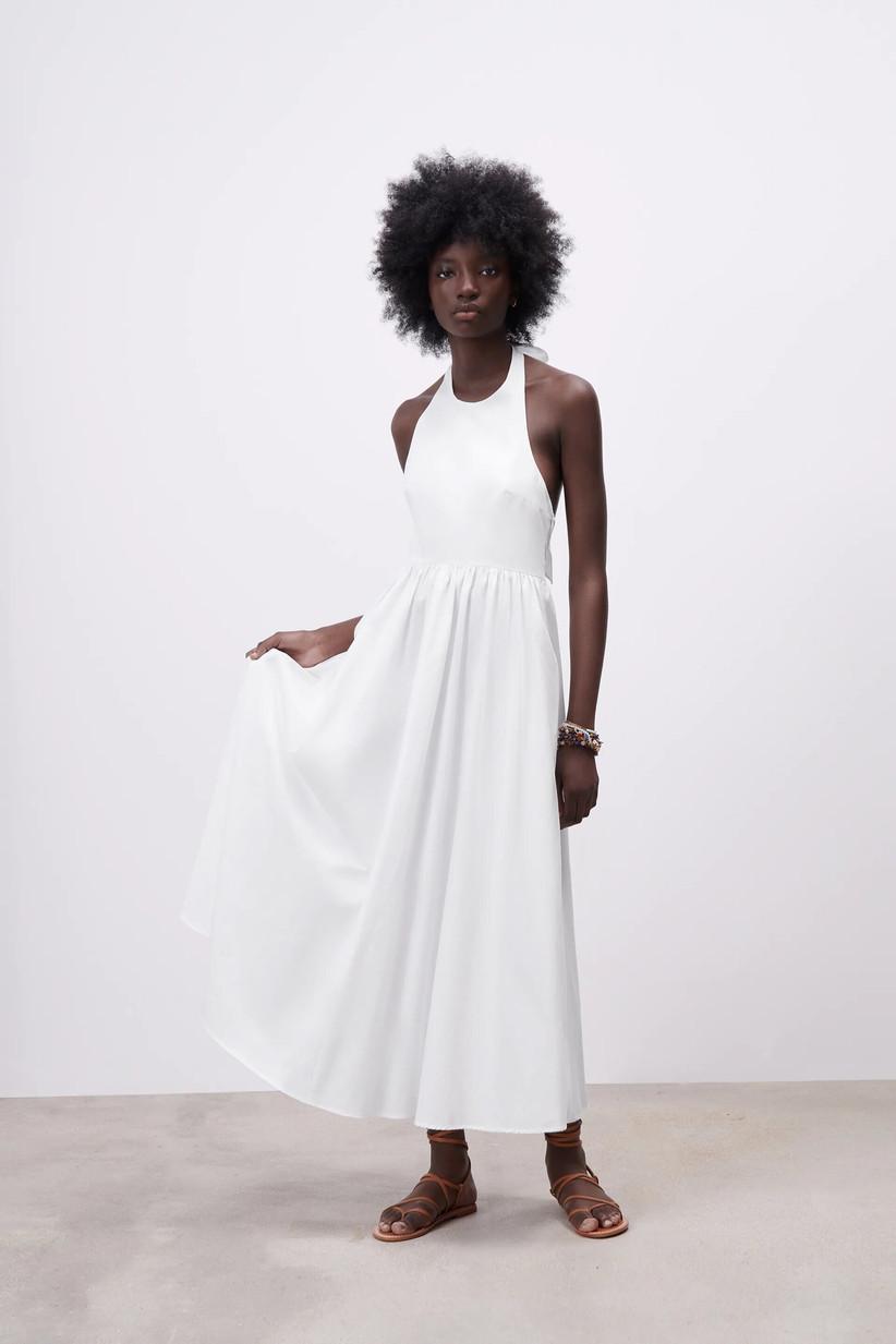 vestido blanco de fiesta escote redondo