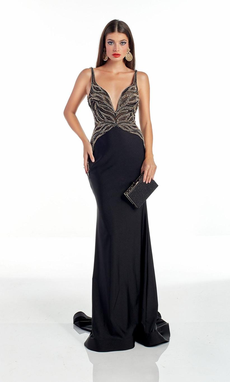 vestido de fiesta para boda negro y con brillo