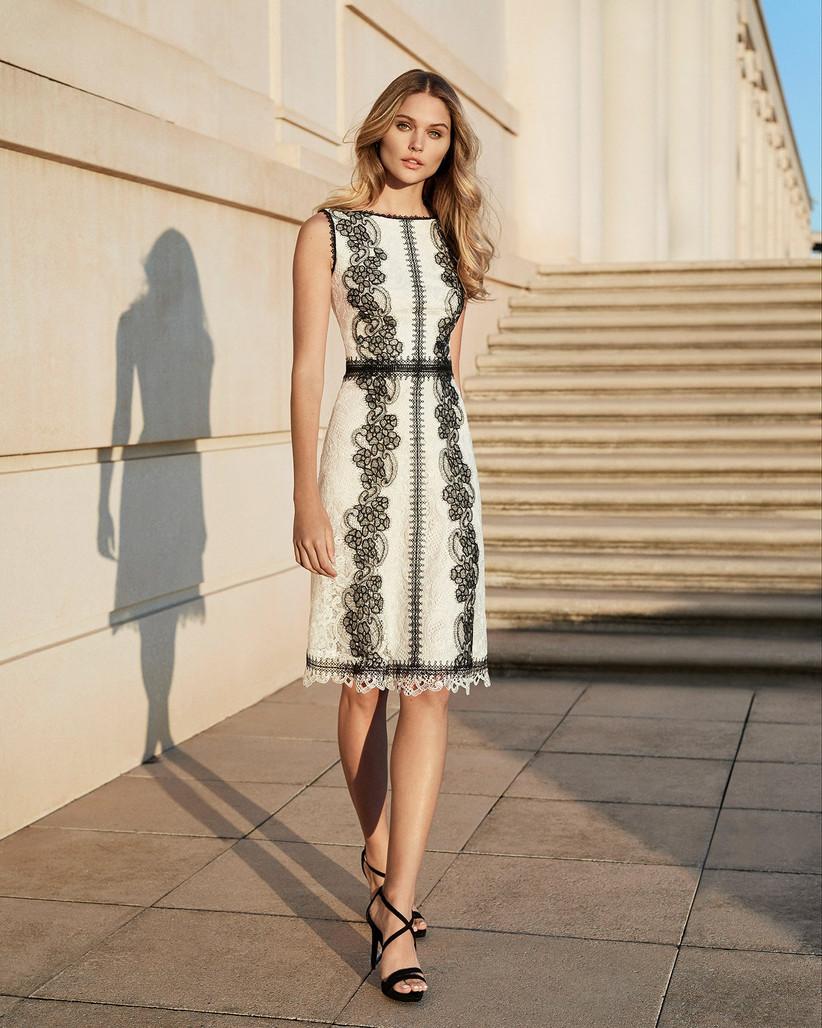 vestido corte midi blanco y negro