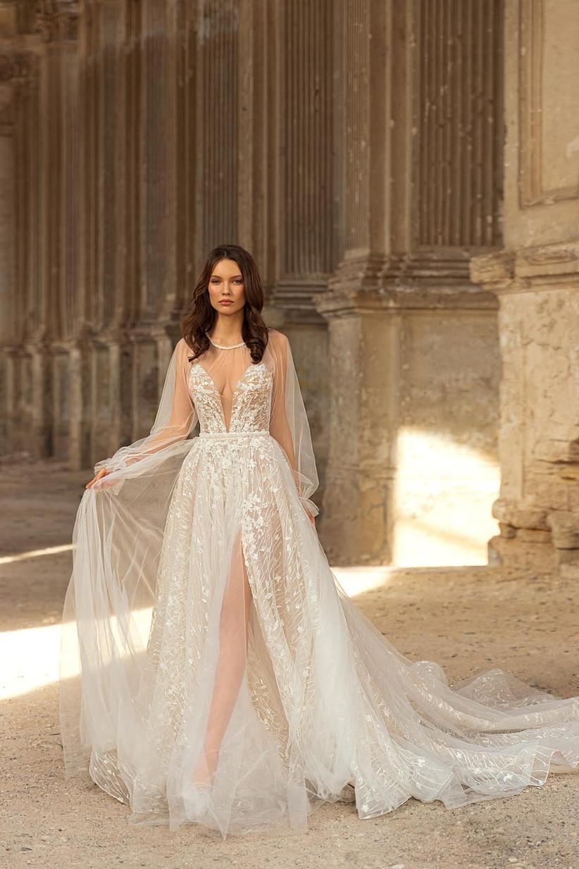 vestido de novia de tul corte en A