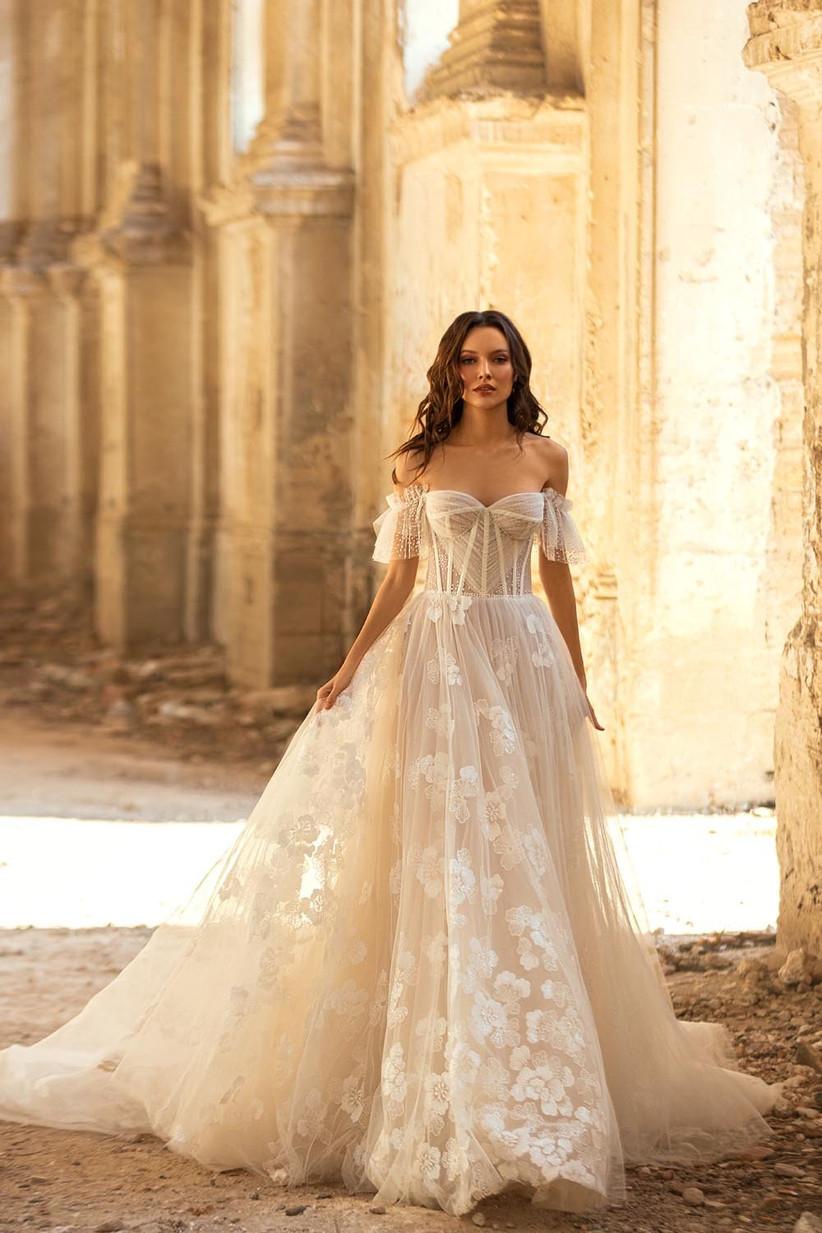 vestido de novia sin mangas de estilo corsé