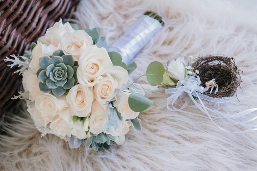 bouquet de novia romántico de rosas