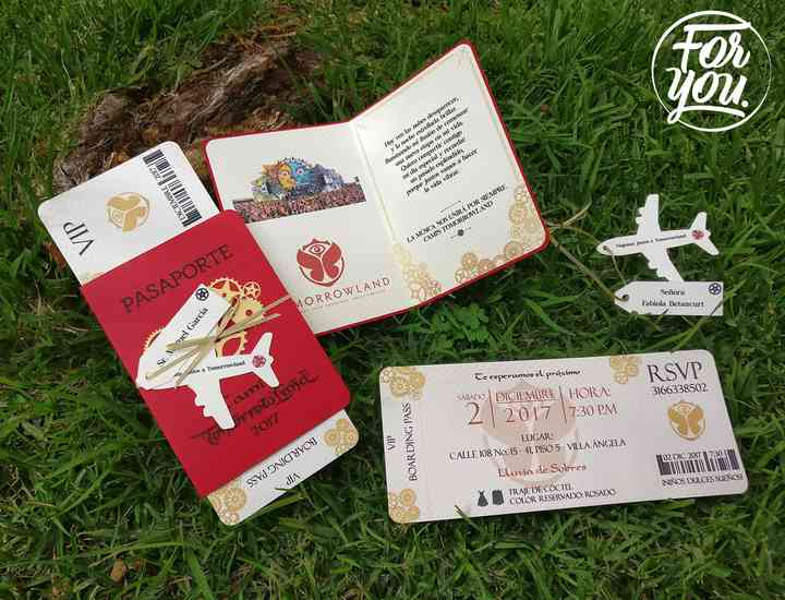 tarjetas de matrimonio tiquetes de avión