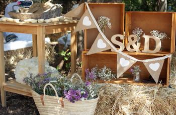 Decoración de boda con material reciclado