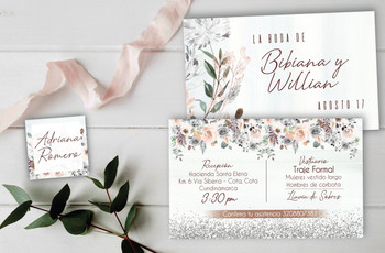 Invitaciones para boda con diseños de flores