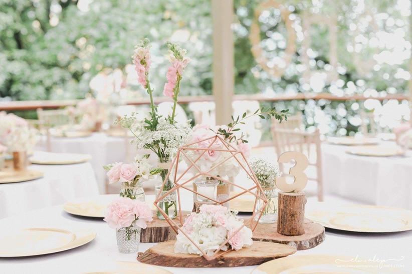 centro de mesa para boda geométrico y rústico