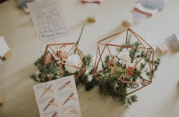 Centros de mesa geométricos para boda