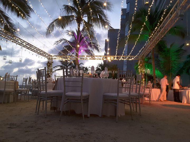 Cena matrimonio playa hotel