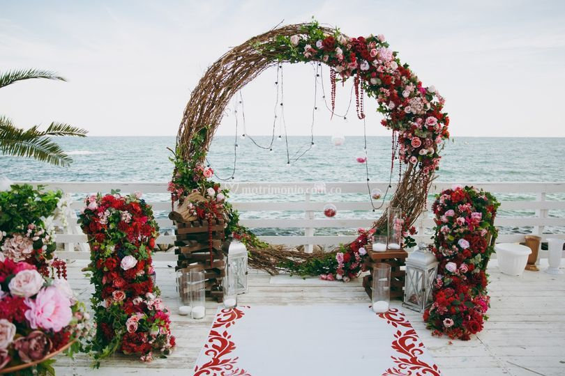 Ceremonia playa floral desing