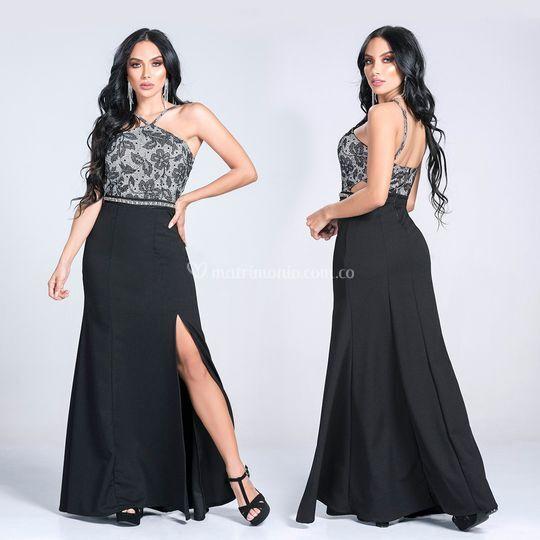 Vestido negro gala, grado