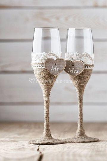 Decoración copas novias