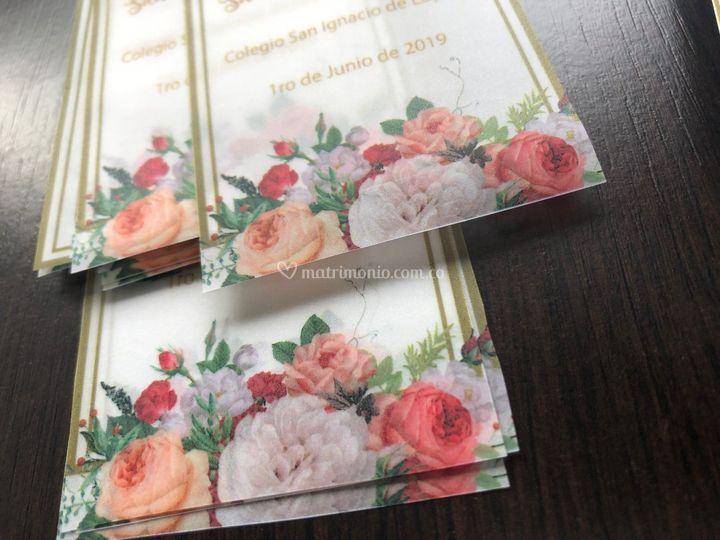 Flores en pergamino