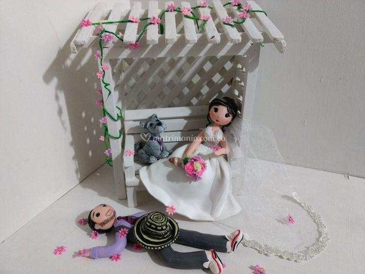 Escaño rosa boda
