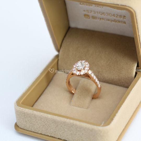 Diamantes y oro rosa