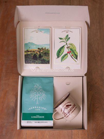 Café, Caja grande y Mug.