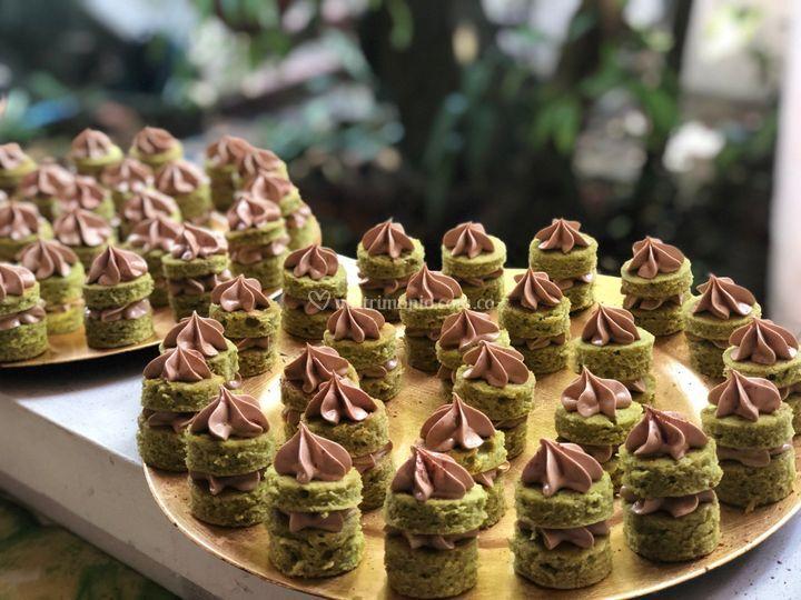 Mini tortas de pistacho y choc