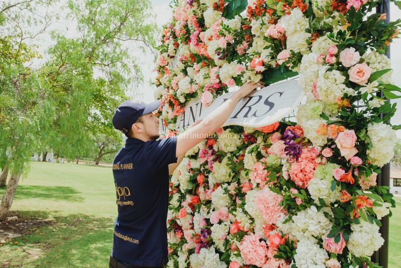 Pared de flor de 3 x 3 metros