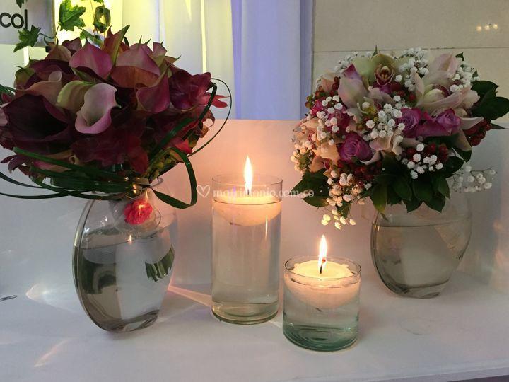 Bouquet, velas, orquideas