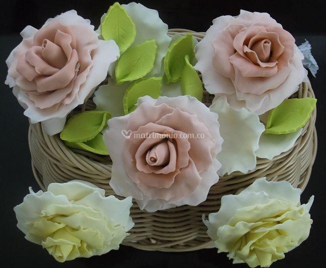 Rosas en azúcar