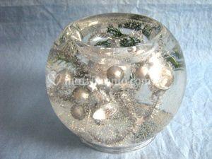 Vela gel perlas plata