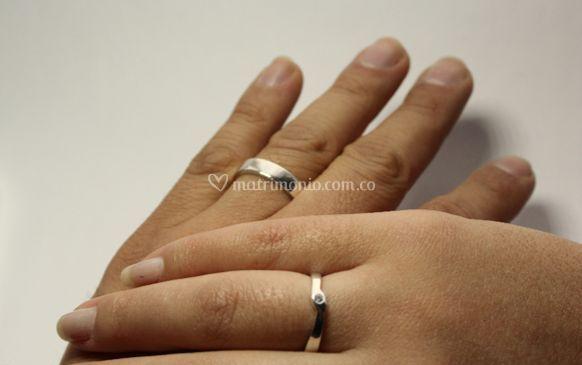 Argollas Oro Blanco Diamante
