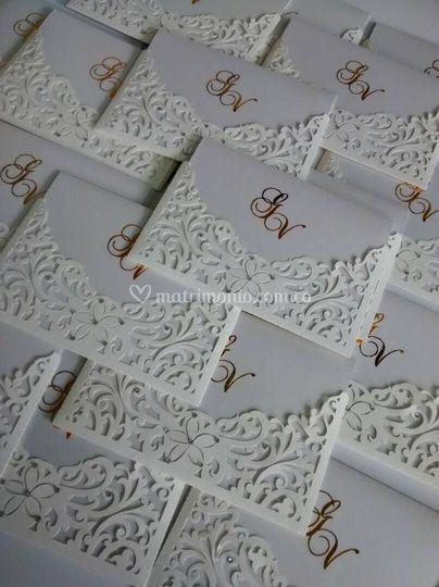 Tarjeta de boda dos caras