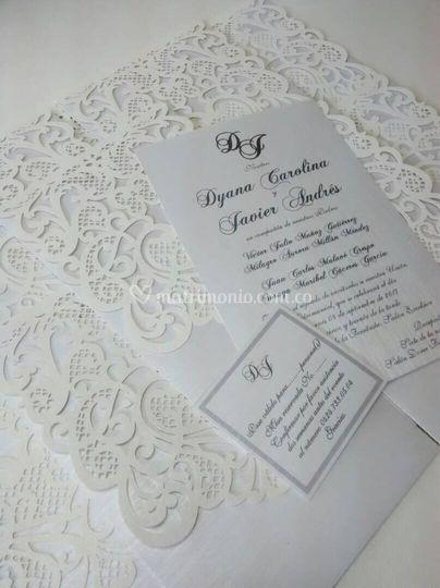Tarjeta de boda hoja sencilla