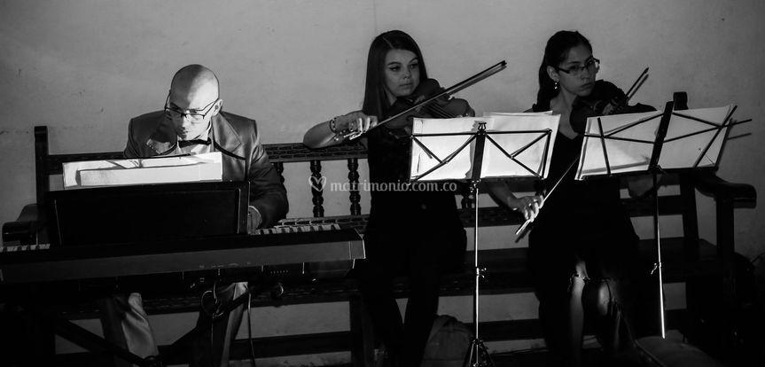 Piano, violín, viola.