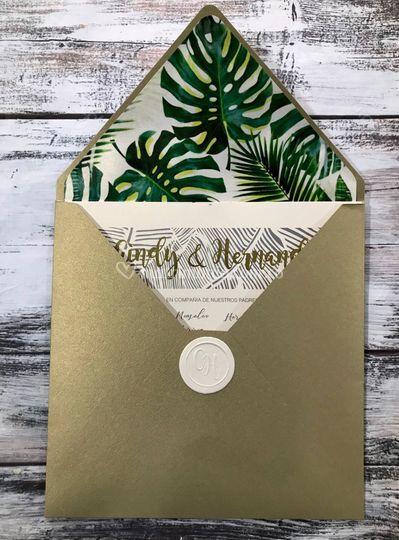 Invitación floral verde