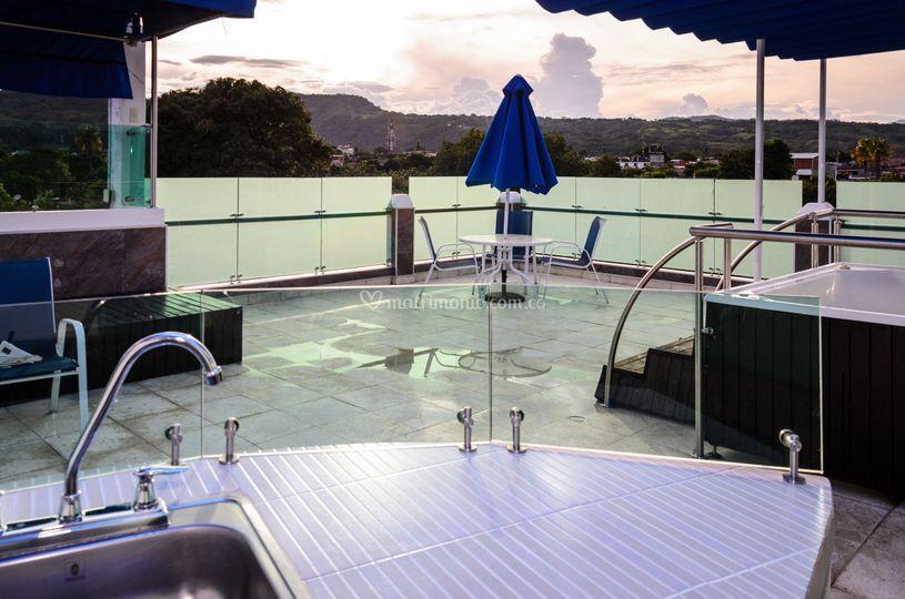 Terraza privada para la suite