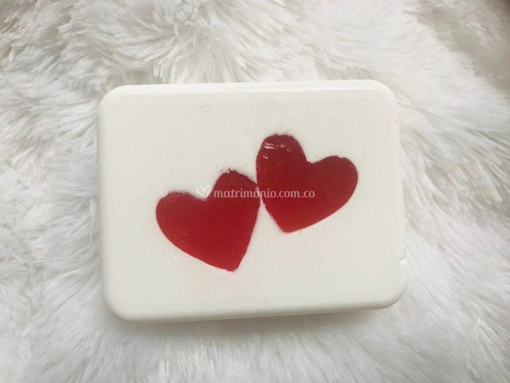 Jabón corazones cuadrado