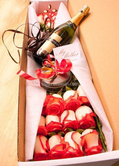 Rosas con vino y chocolates