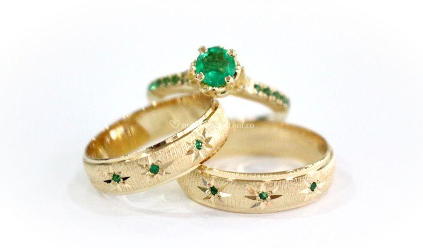 Set oro amarillo esmeralda