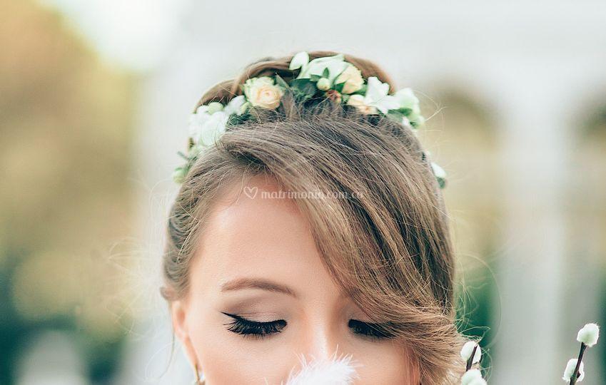 Tocado novia romático