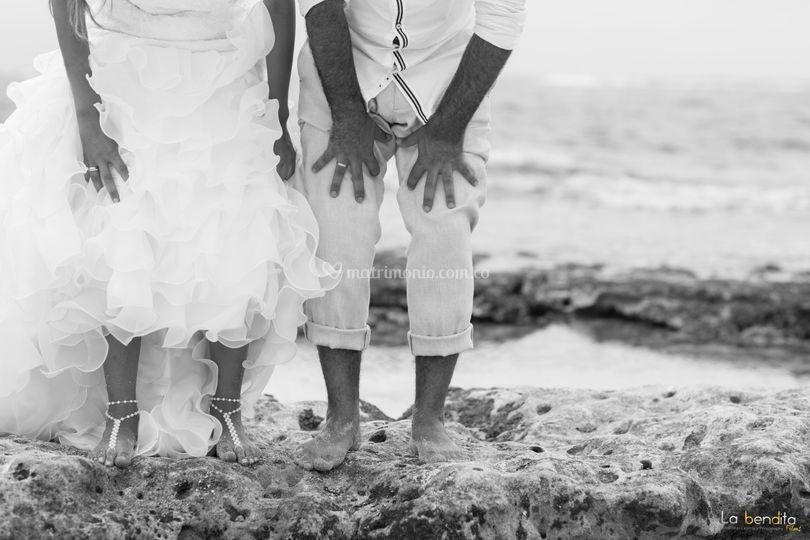 Novios en el mar