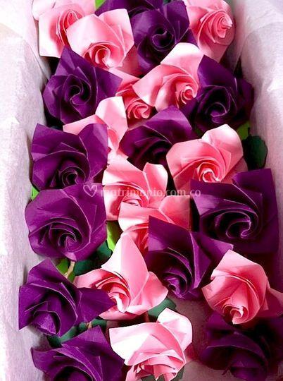 Acercamiento flores en origami