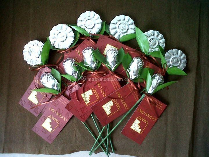 Rosas y flores en chocolate