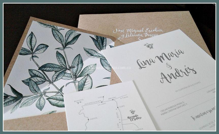 Forro impreso diseño hojas